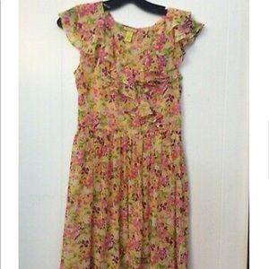 AKUALANI Floral Sheer Ruffle DRESS S